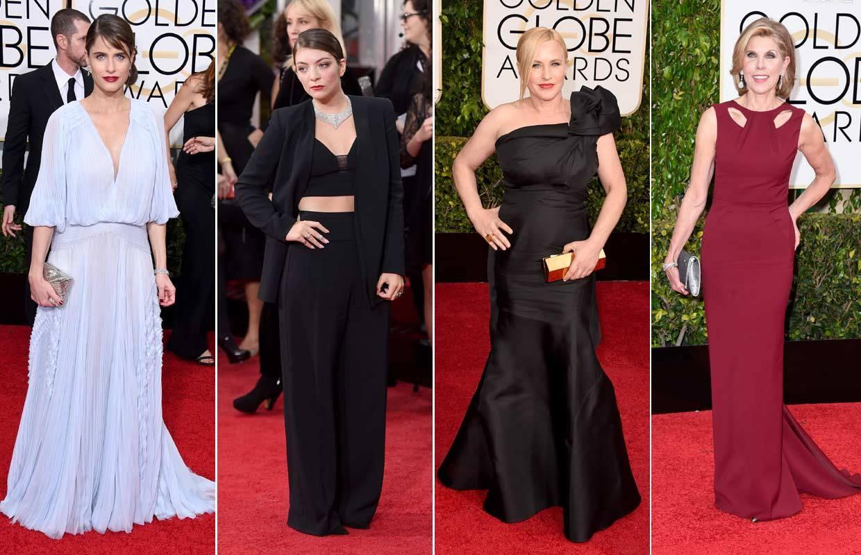 Despliegue de 'glamour' sobre la alfombra roja en los Globo de Oro