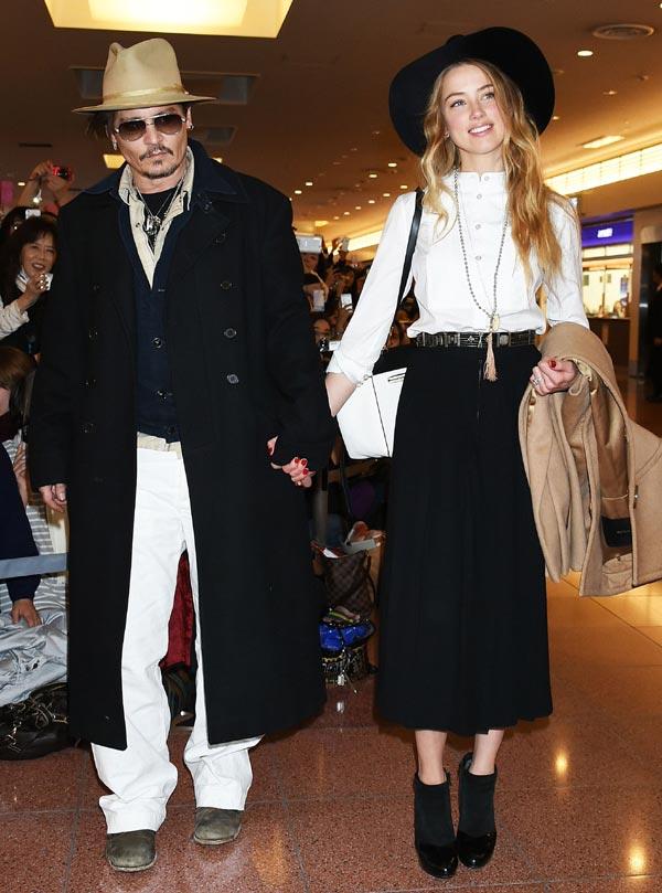 Johnny Depp, su ex Vanessa Paradis y su mujer Amber Heard, cordial cena de cumpleaños en familia