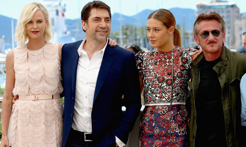 Javier Bardem 'rompe el hielo' entre Charlize Theron y Sean Penn en Cannes