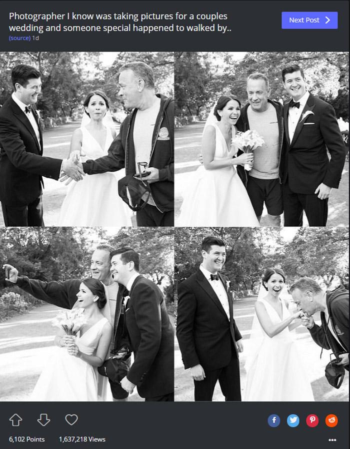 ¿Es el padrino, un testigo…? No, es Tom Hanks colándose en su álbum de boda