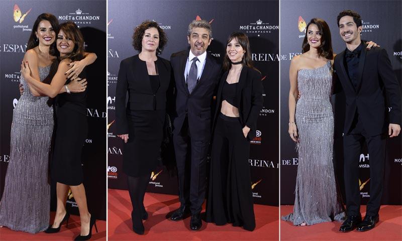 Penélope Cruz y Chino Darín, al estreno de 'La reina de España' en familia