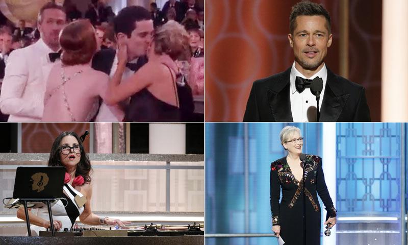 La aparición sorpresa de Brad Pitt, la cobra de Emma Stone y la emoción de los premiados en la gran fiesta de Hollywood