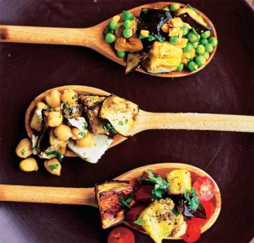 Cocina con verduras: tres ensaladas, un ingrediente común