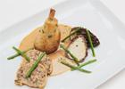 Muslitos de pollo con estragón asados al Jerez, con colmenillas rellenas