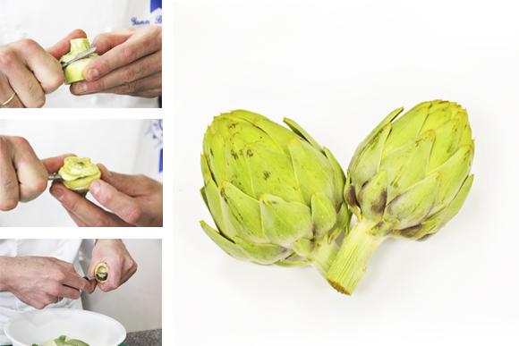 Técnica: Corazones de alcachofa