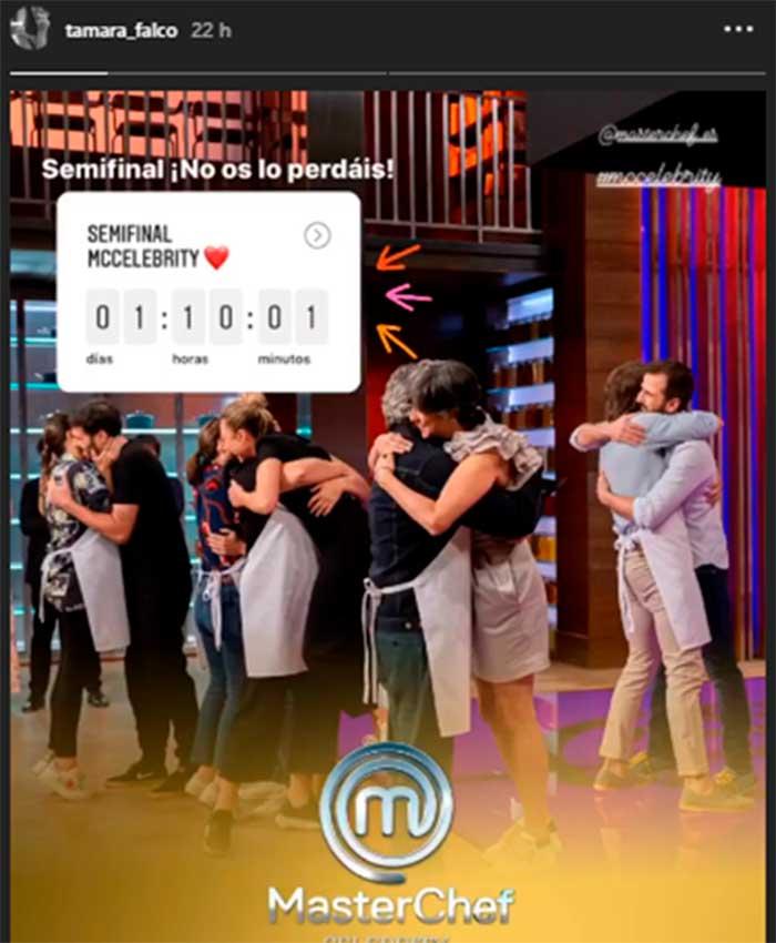 Tamara Falcó animando a sus fans a que vean la semifinal de MasterChef Celebrity