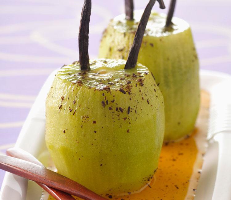 Kiwis confitados con sirope de vainilla y jengibre