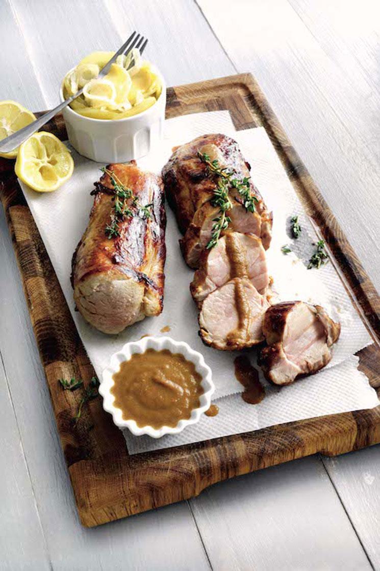 Solomillo de cerdo ibérico con pastel de patata y manzana