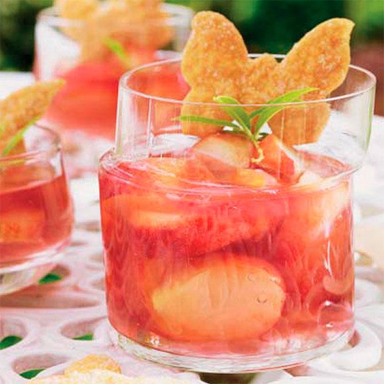 Melocotones en gelatina de frambuesa