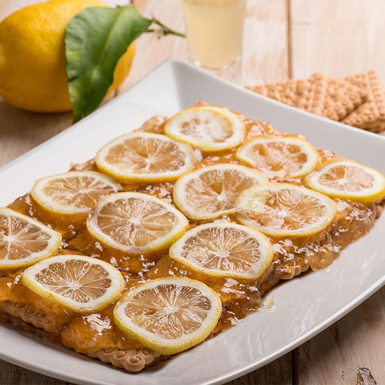 Tarta de galletas con mermelada y limón confitado