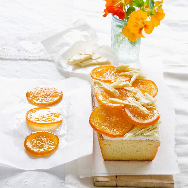 Cheesecake de naranja con cobertura de chocolate blanco