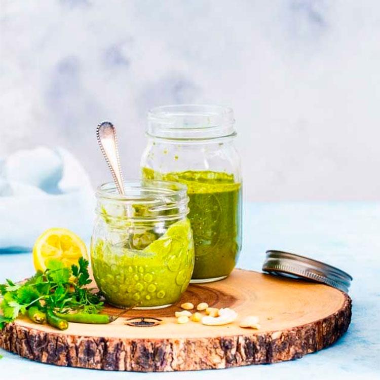 Pesto de cilantro y nueces