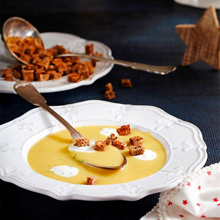 Crema de patata, zanahoria y puerro
