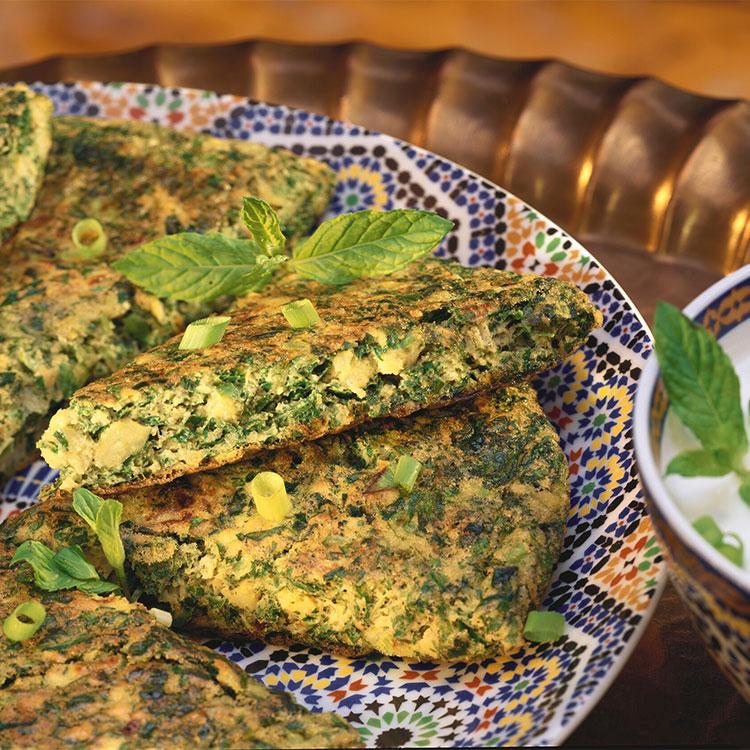 Tortilla de verduras a la menta