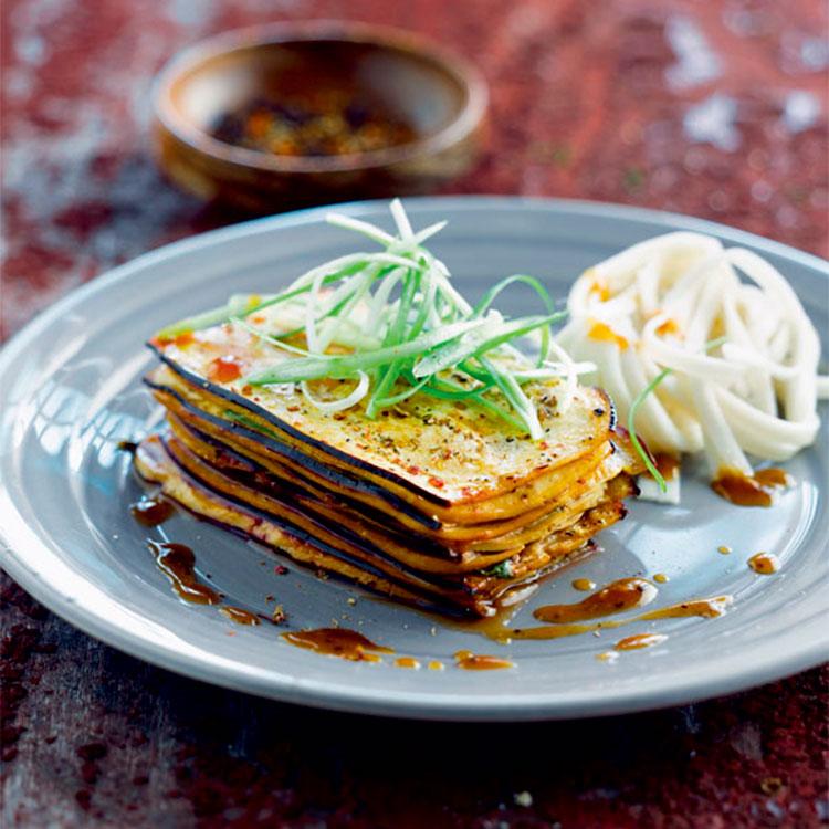 Lasaña de berenjena y tofu