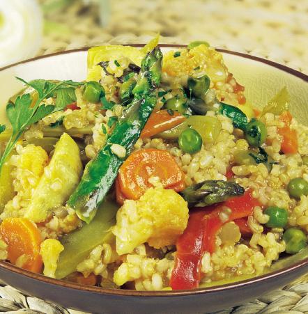 Cocina ligera: arroz integral con verduras de primavera