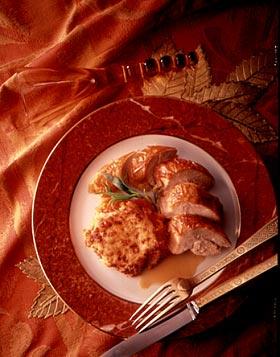 Capón cocido y asado con gratín de calabaza
