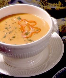 Sopa fría de pimientos rojos al tomillo