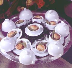 Terrina de hongos a la plancha con vinagreta de trufas