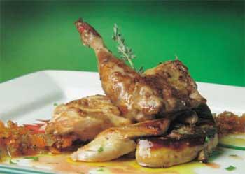 Perdiz con foie-gras a la plancha y calabaza cremosa