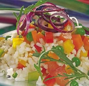 Arroz al vapor con hortalizas