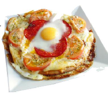Huevos en pizza