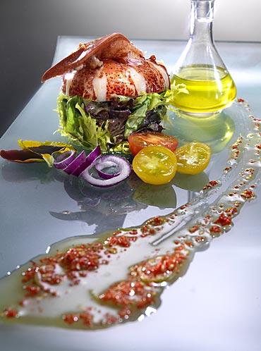 Ensalada de bogavante con vinagreta de lima y azafr n - Escuela de cocina azafran ...