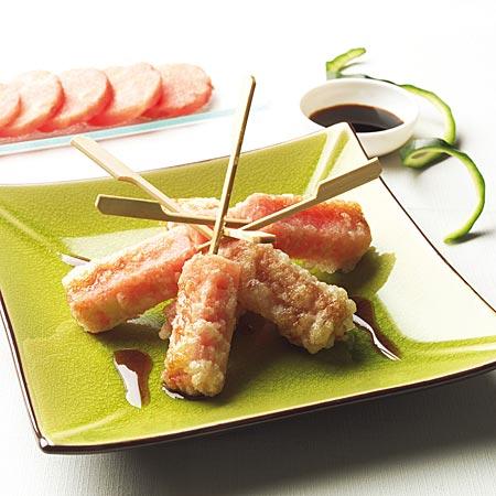 Brocheta de sandía en tempura