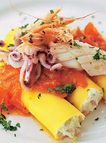 Canelones con frutos de mar