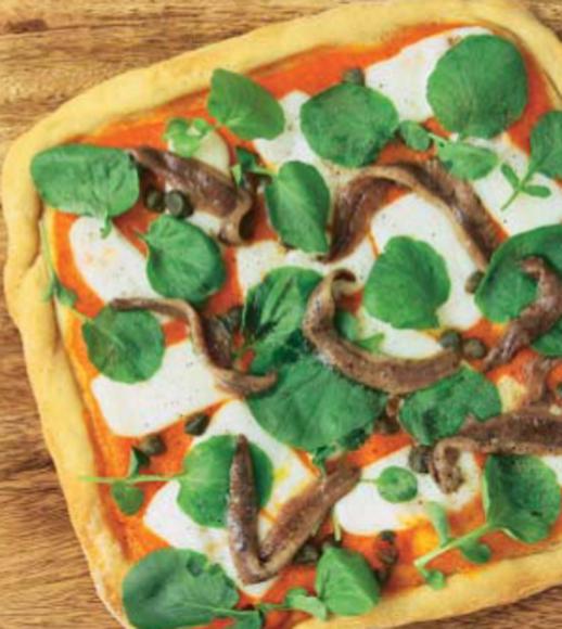 Pizza de anchoas y berros