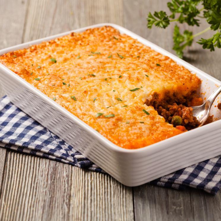 Pastel de zanahoria con puré de patata y carne picada