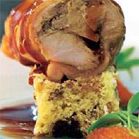 Conejo royal con bizcocho de cereales y naranja sanguina asada al Formentor