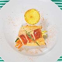 Trucha con jamón y tomillo