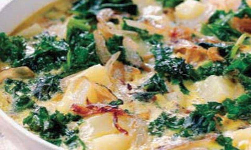 Gratinado de patatas y col verde