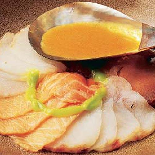 'Sashimi' con salsa de carabineros