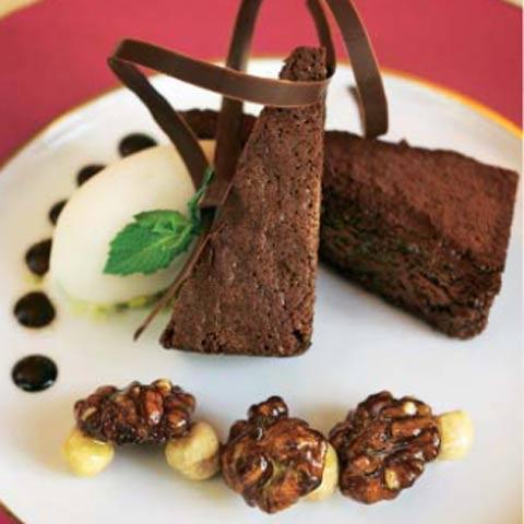 'Brownie' con salsa de chocolate
