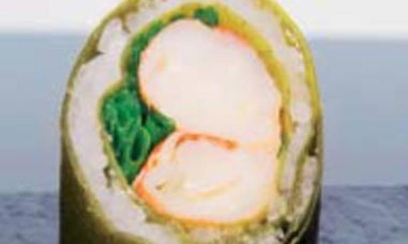 'Uramaki' de gambas al ajillo y lámina de brócoli