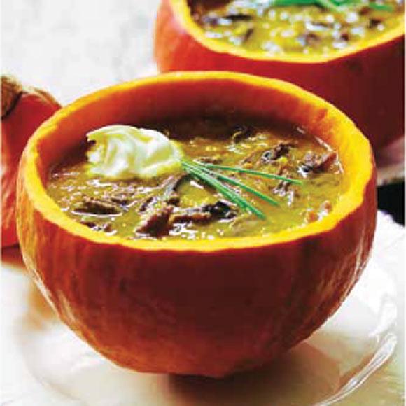 Sopa de calabaza, zanahoria y ternera picante