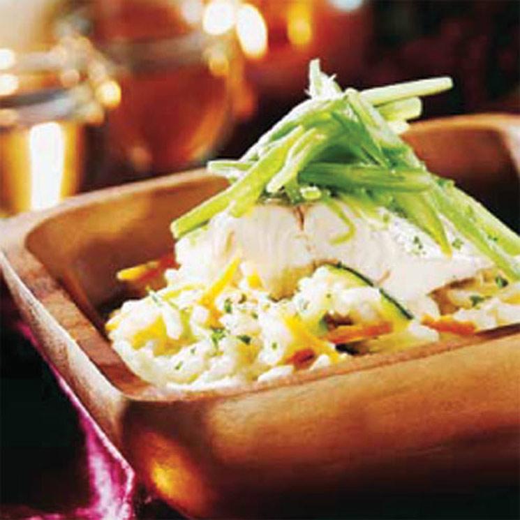 Arroz caldoso de verduras con lomo de pescadilla de pincho