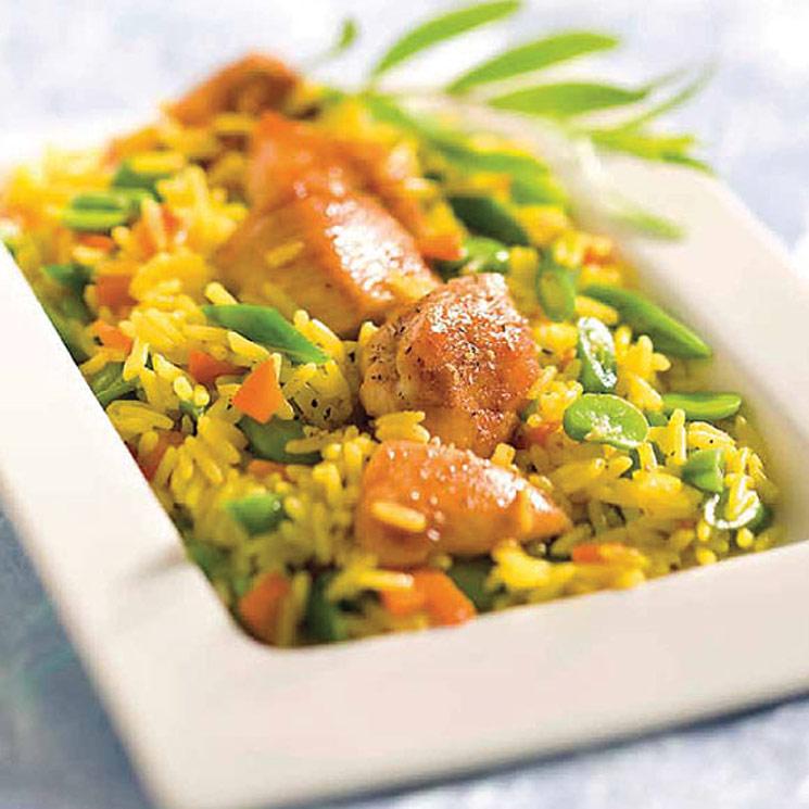 Arroz de pollo con verduras al azafrán
