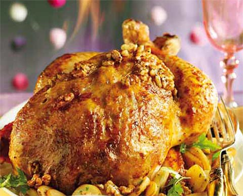 Pavo al whisky con nueces