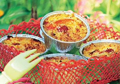 Pastelitos de albaricoque, frambuesa y coco