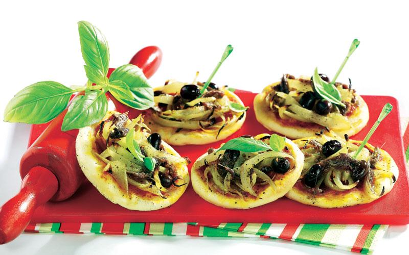 Minipizzas de anchoas