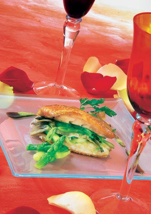 Salmonetes rellenos de setas y verduras