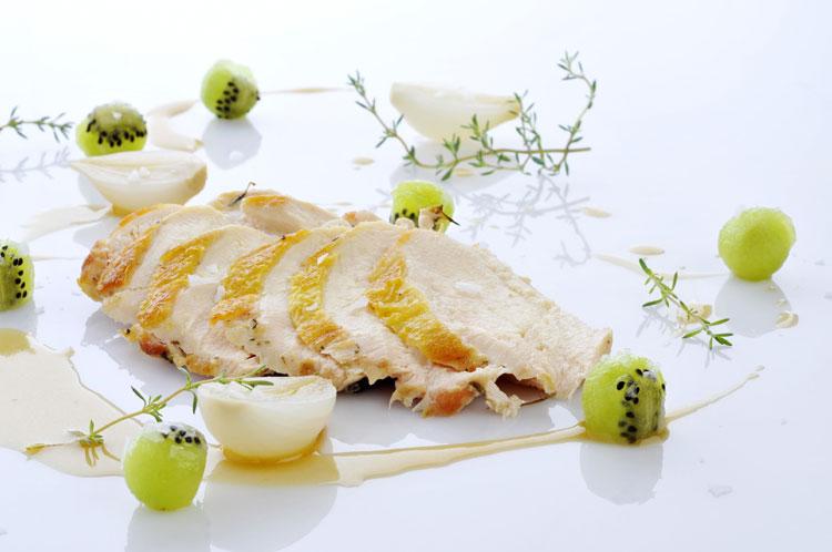 Pechugas de pollo asadas con kiwis