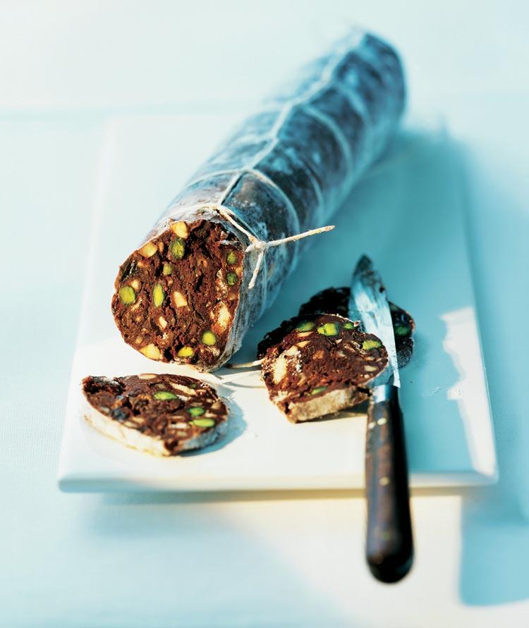 'Morcilla' de chocolate y pistachos