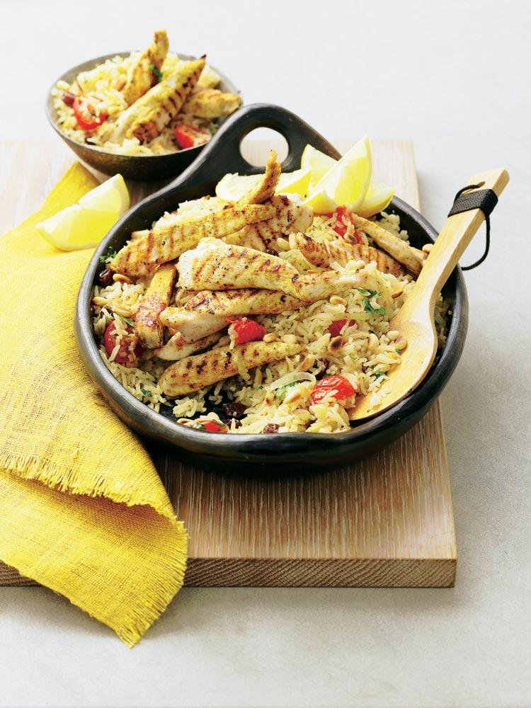 Delicias de pollo con arroz basmati
