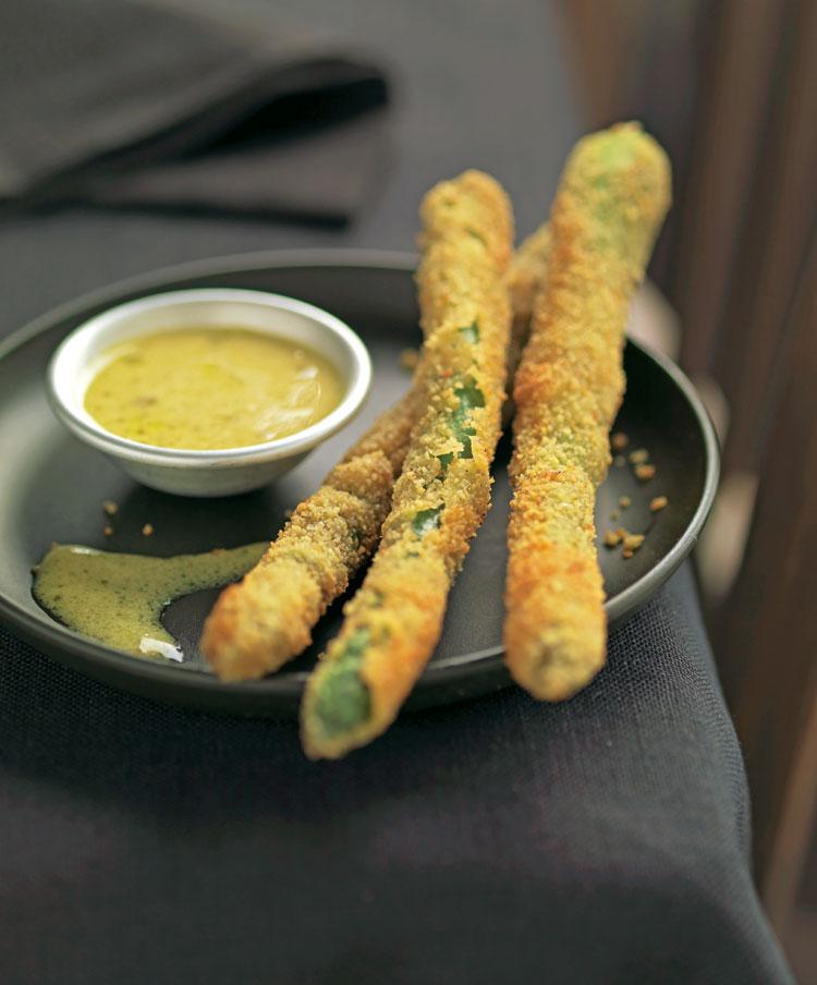 Trigueros empanados con salsa de mostaza - Comidas con esparragos ...