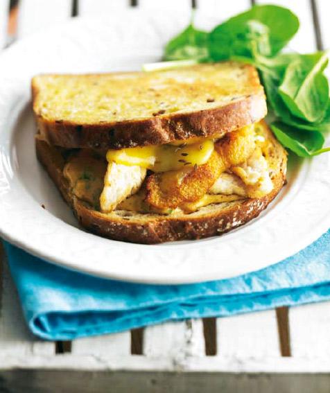 Sándwich de pollo y queso Gouda fundido