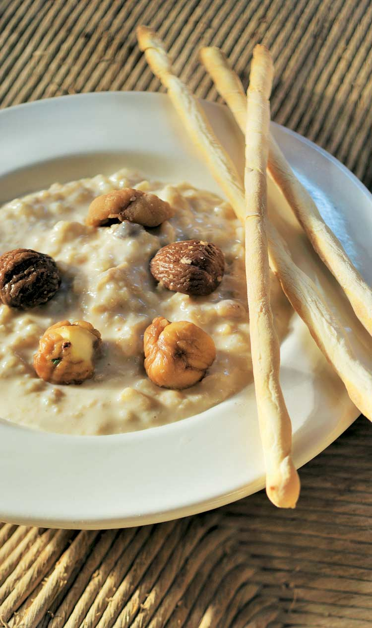 Sopa de arroz con leche y castañas